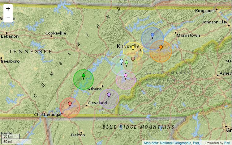 Wbircom Small Earthquake Hits Near Sevierville - Map of east tn